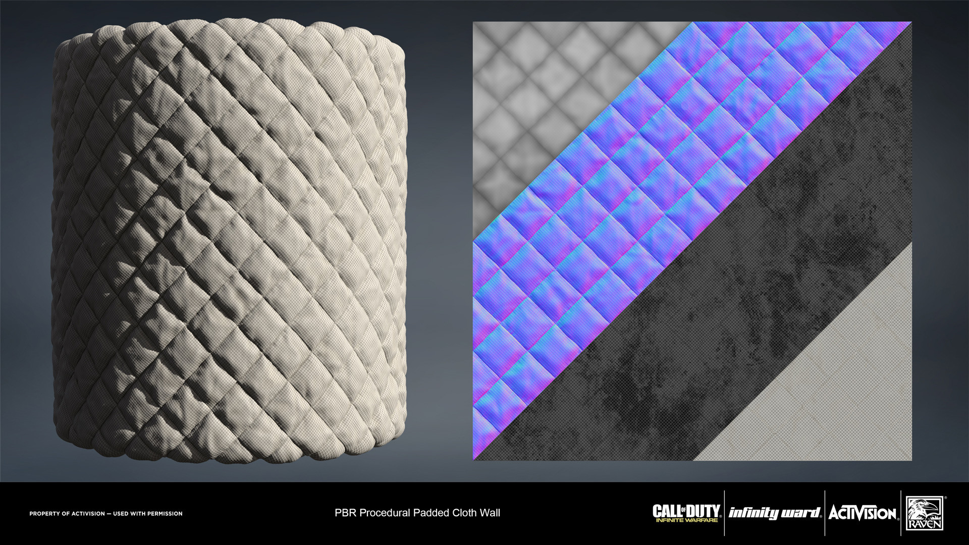 Cloth padded wall. Created entirely in Substance Designer.