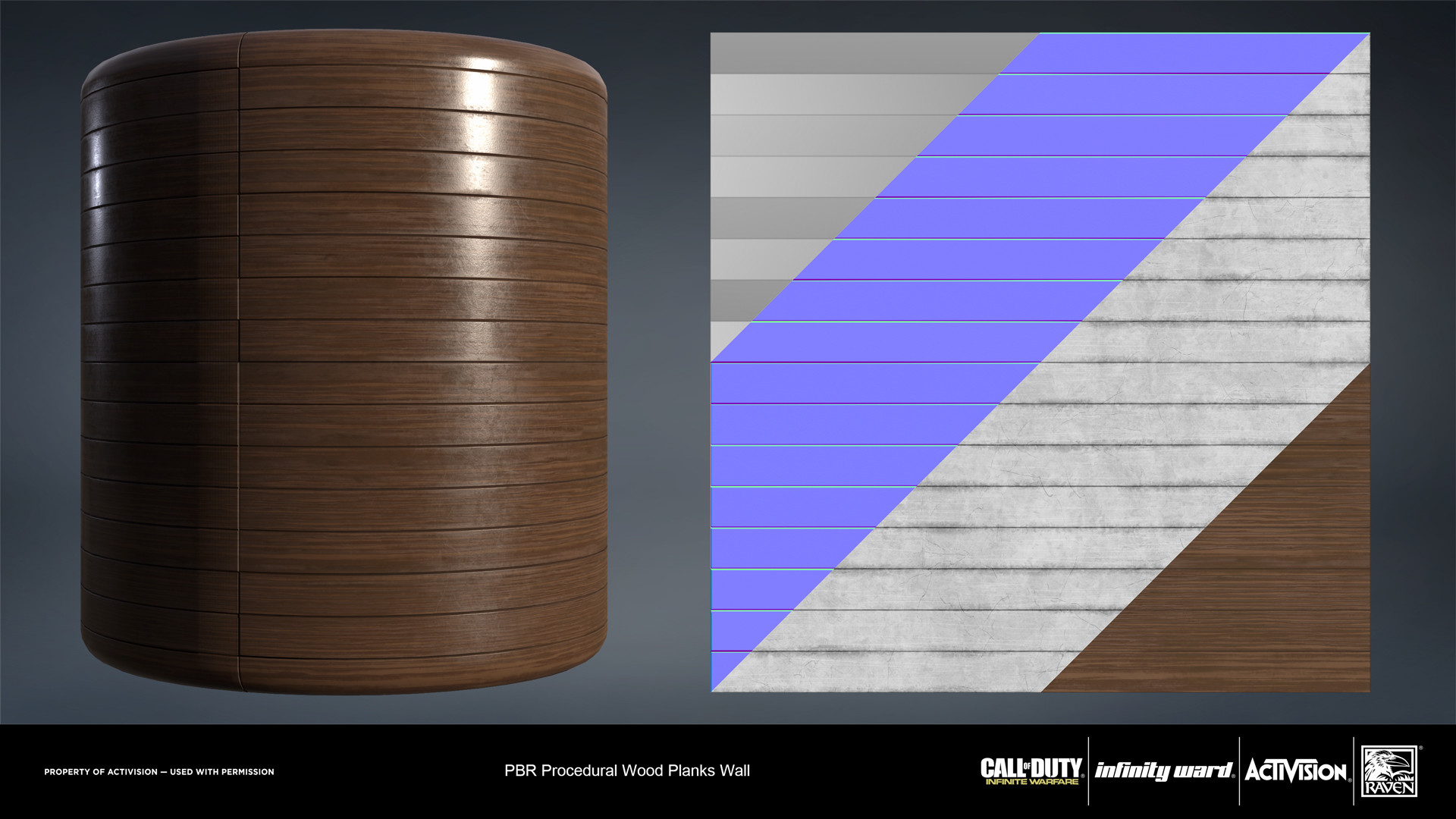 Wood slat panel wall material. Created entirely in Substance Designer.
