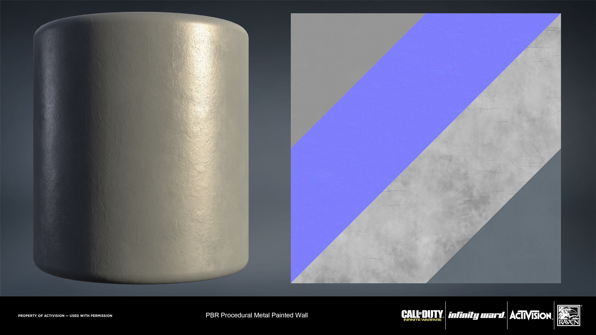 Metal painted wall material. Created entirely in Substance Designer.