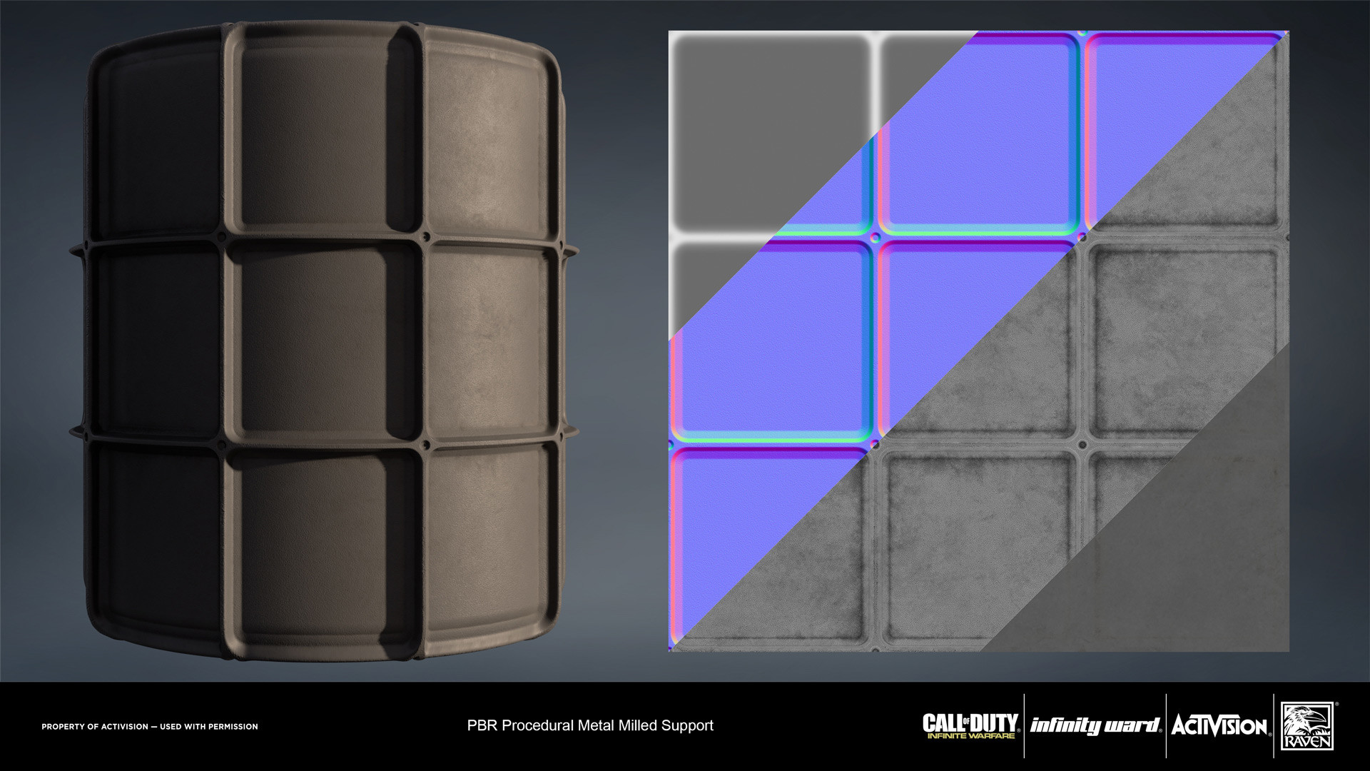Metal coated milled support material. Created entirely in Substance Designer.