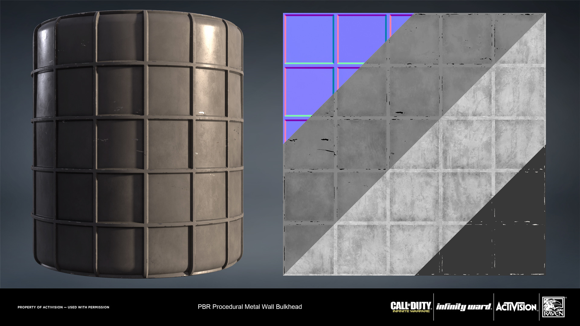 Metal painted bulkhead material. Created entirely in Substance Designer.