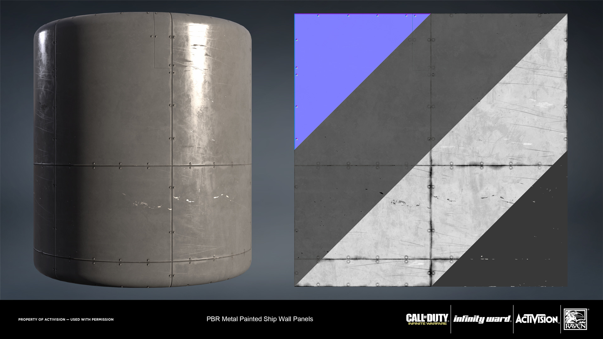 Metal painted wall panel material. Created in nDo and Substance Designer.