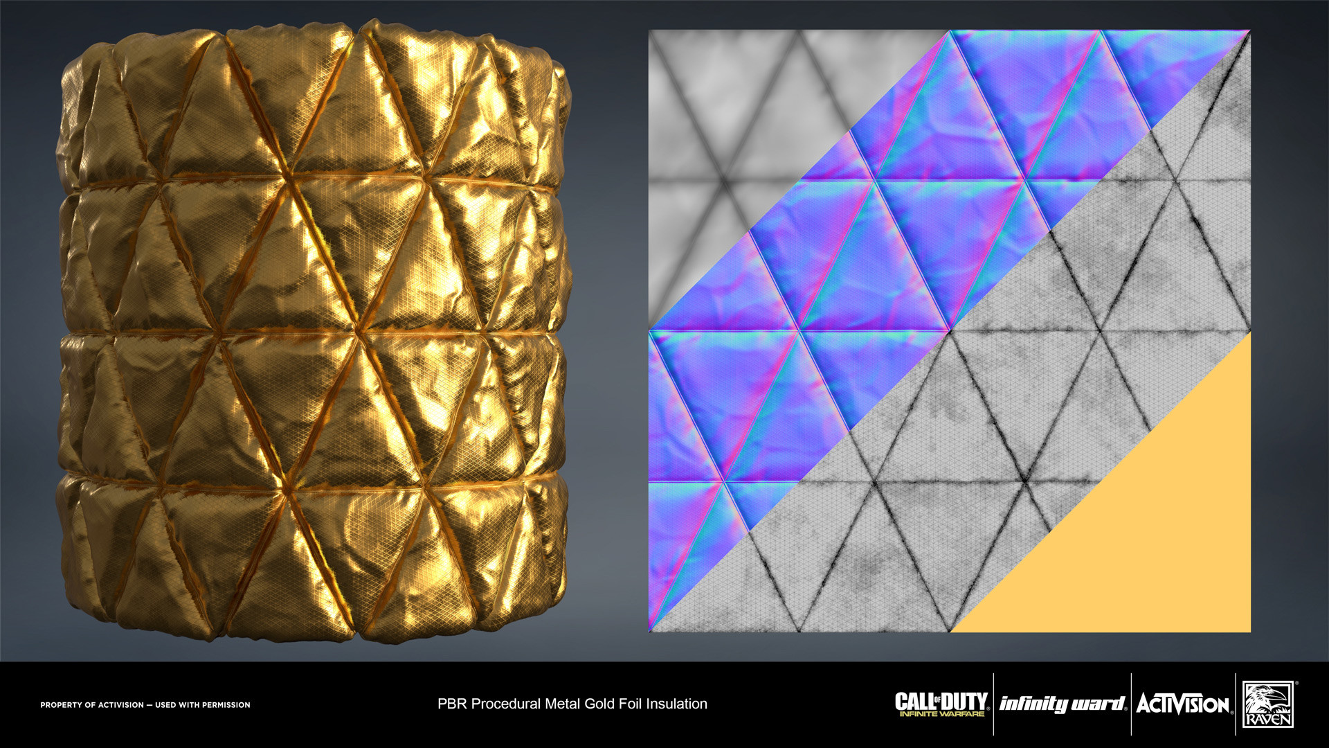 Gold foil insulation material. Created entirely in Substance Designer.