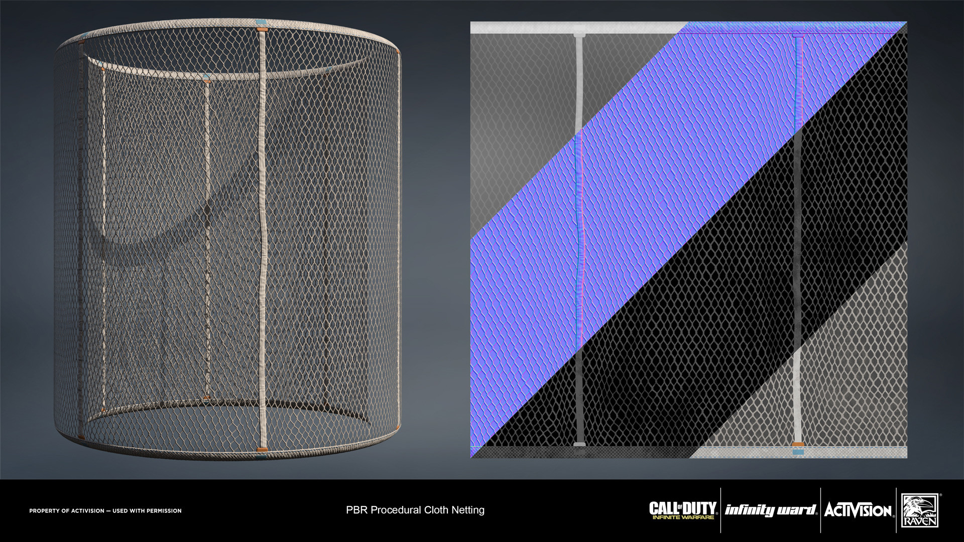 Cloth netting. Created entirely in Substance Designer.