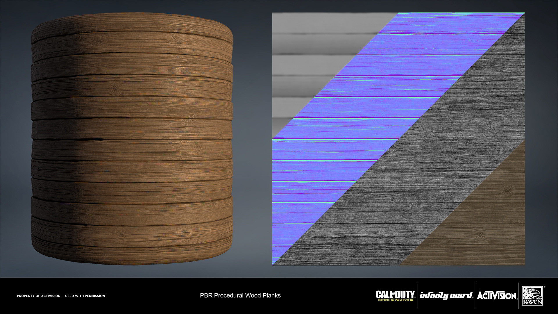 Raw wood slats. Created entirely in Substance Designer.