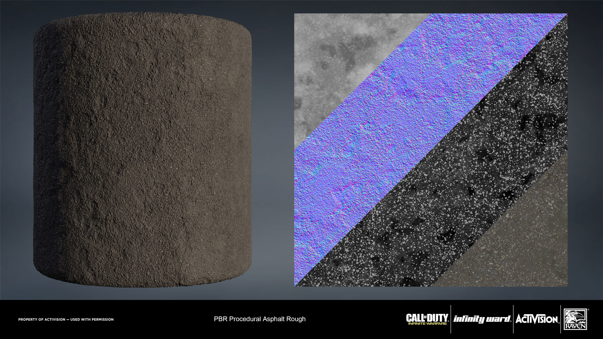 Rough asphalt material. Created entirely in Substance Designer.