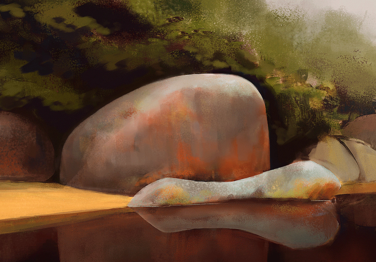 Rock and lake - study
