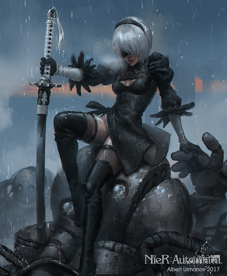 Nier Automata 2b Fan Art Albert Urmanov