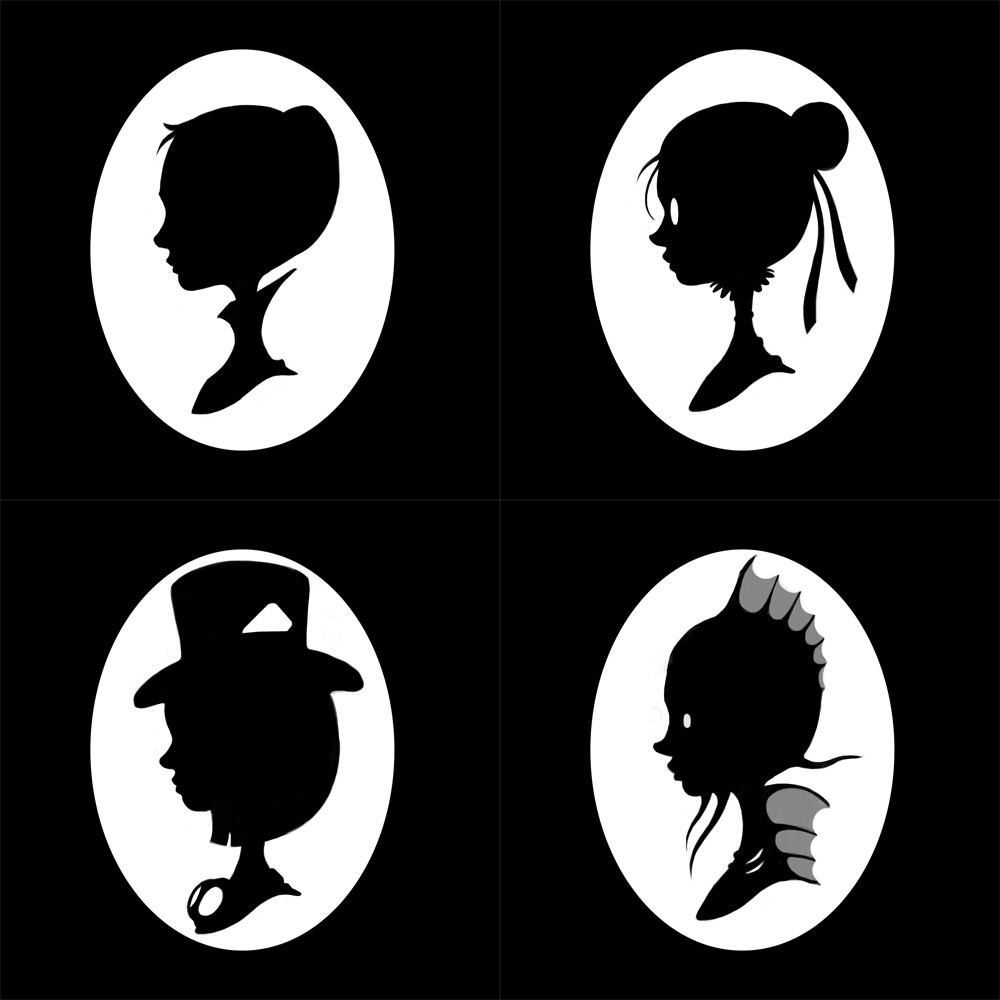 Steampunk cut out sillouettes