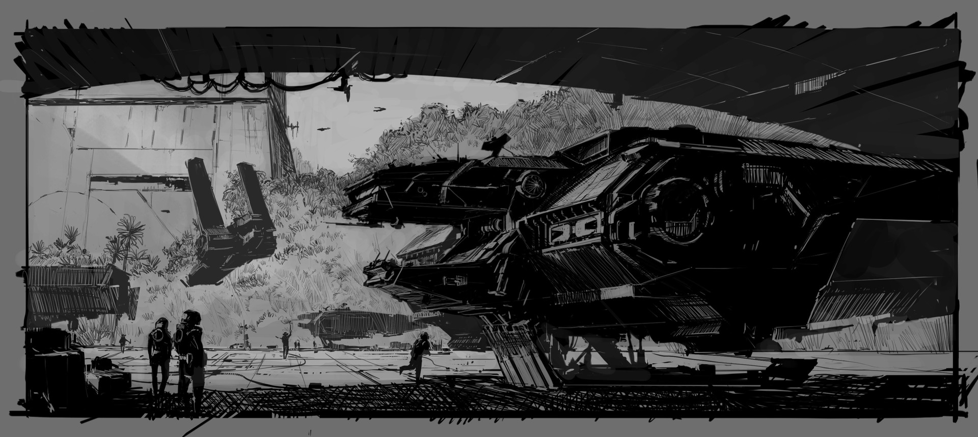 Martin deschambault black white hangar spaceship c