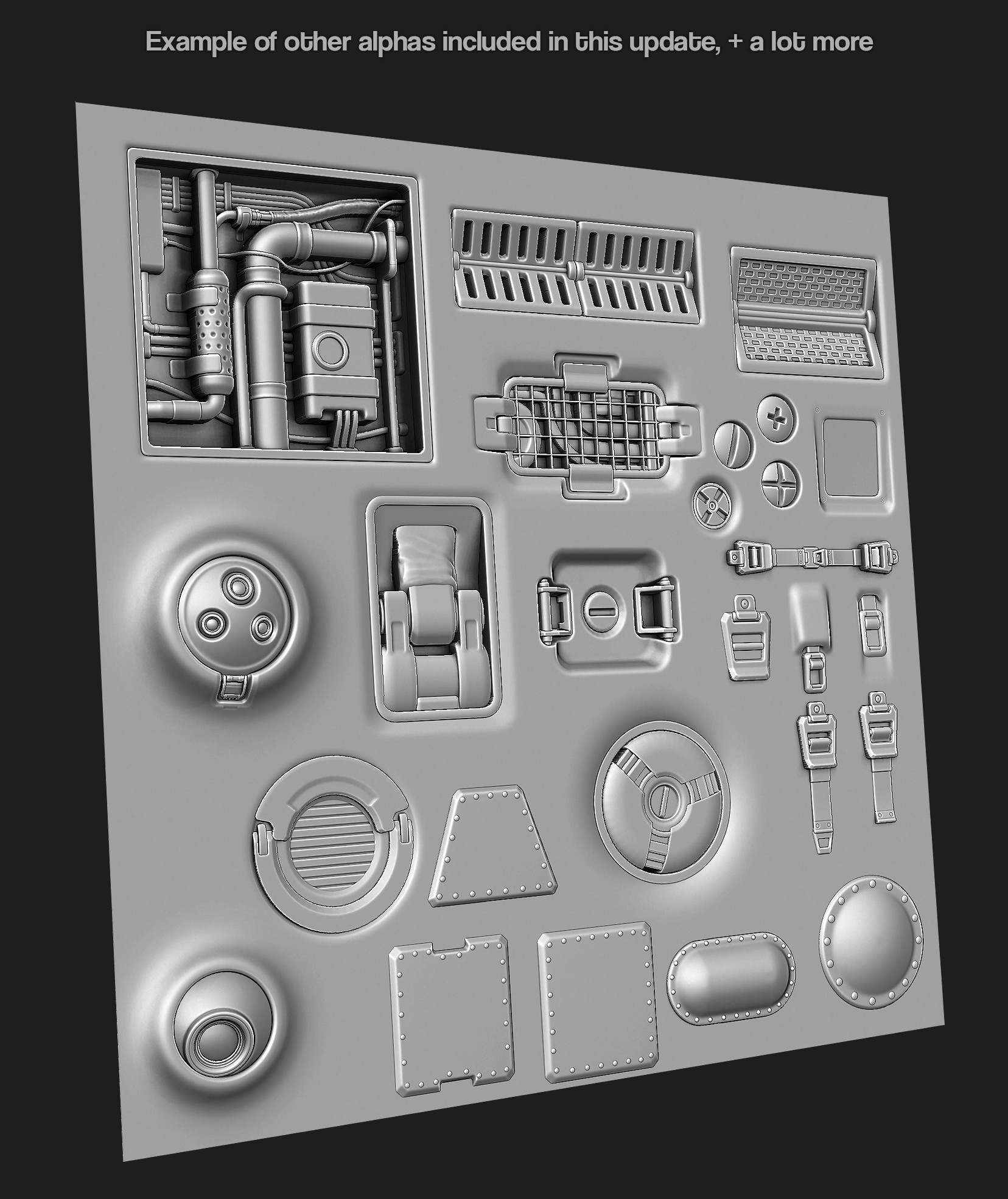 ZBRUSH FREE ALPHA with 350 Hard surface sci-fi Alpha/Height by JONAS
