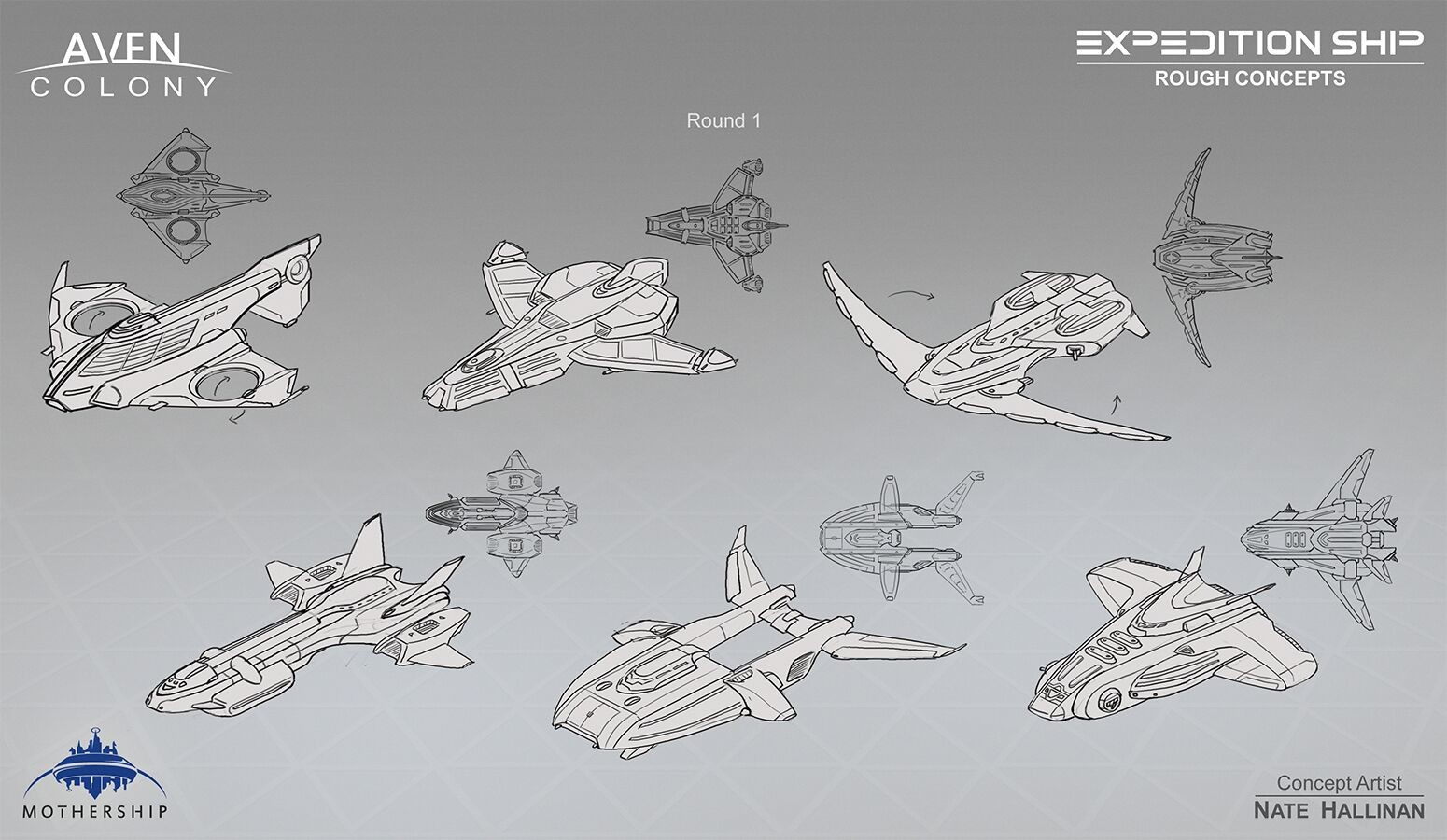 Initial sketches for the Expedition Ship.