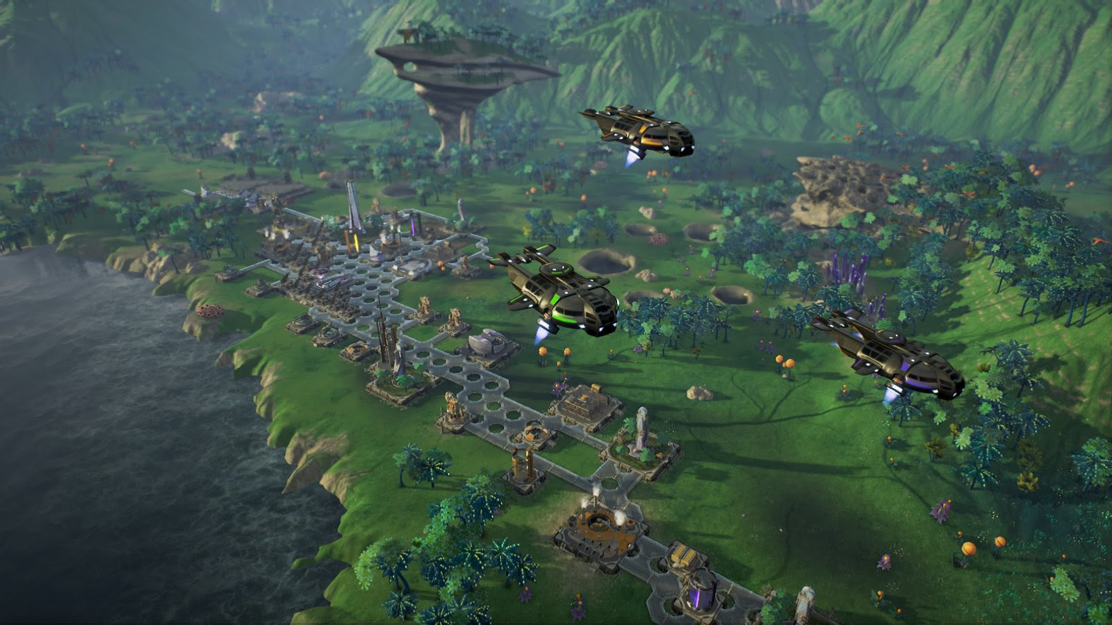 In-game screenshot from Aven Colony of some expedition ships.