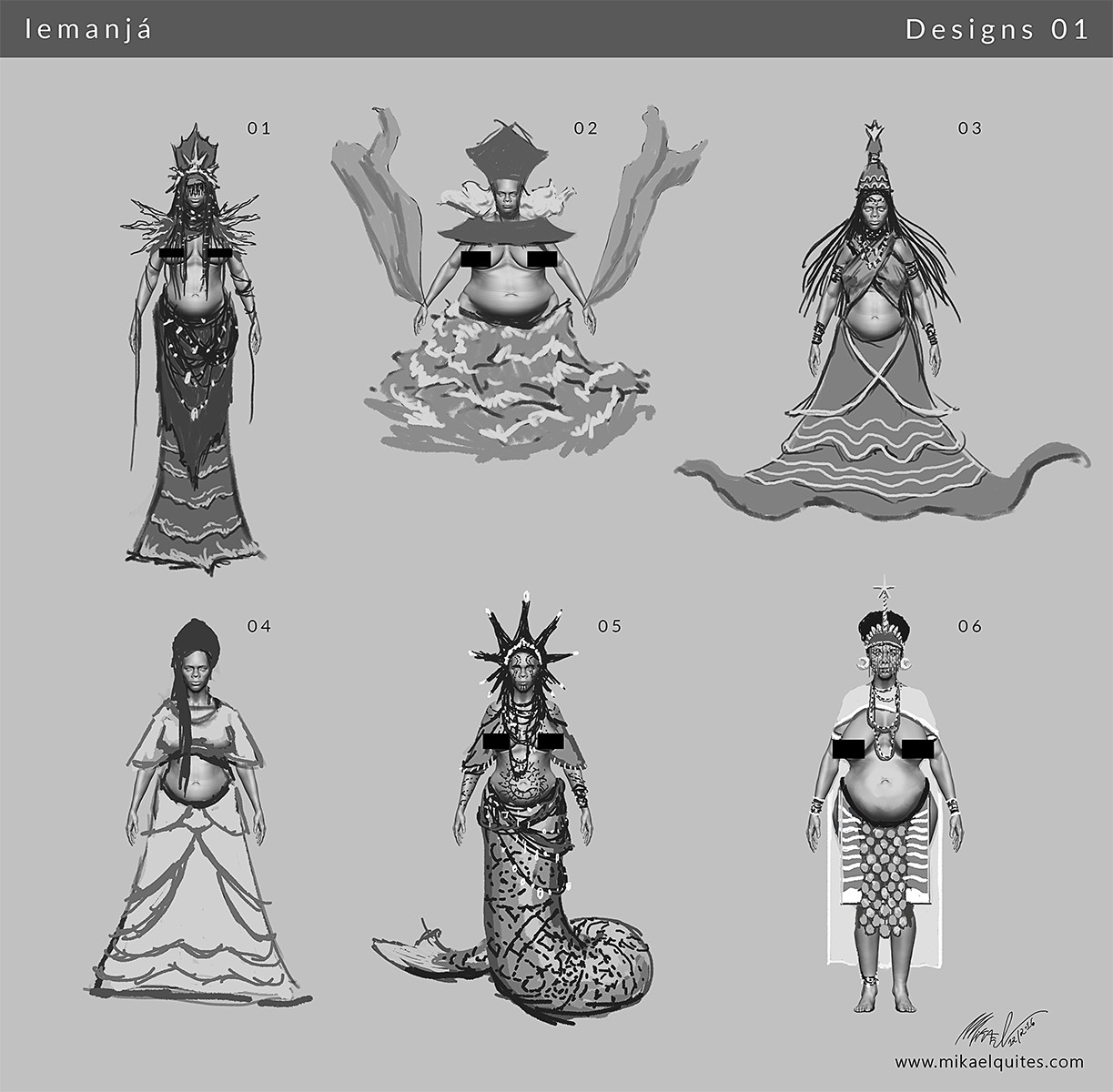I did a good research, learning some important aspects of her: she is a mother, queen of the sea, sometimes called and depicted as a mermaid. Symbols: the waning moon, starfish, waves, pearls.