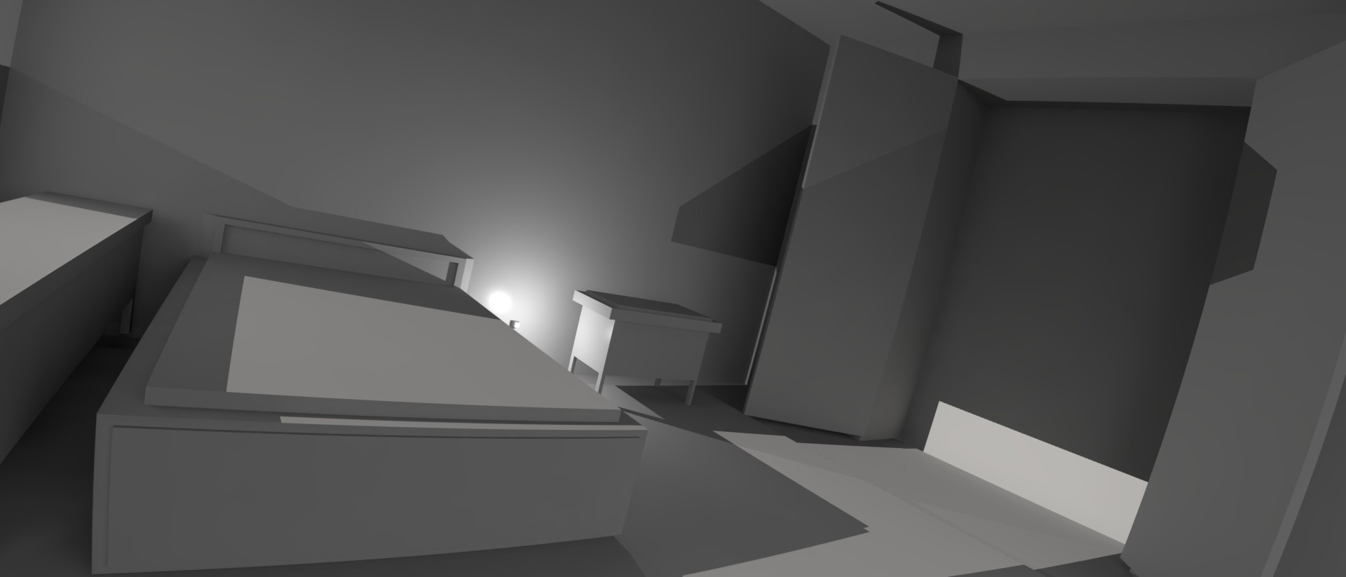 the room was created using only simple geomtrys in modo.