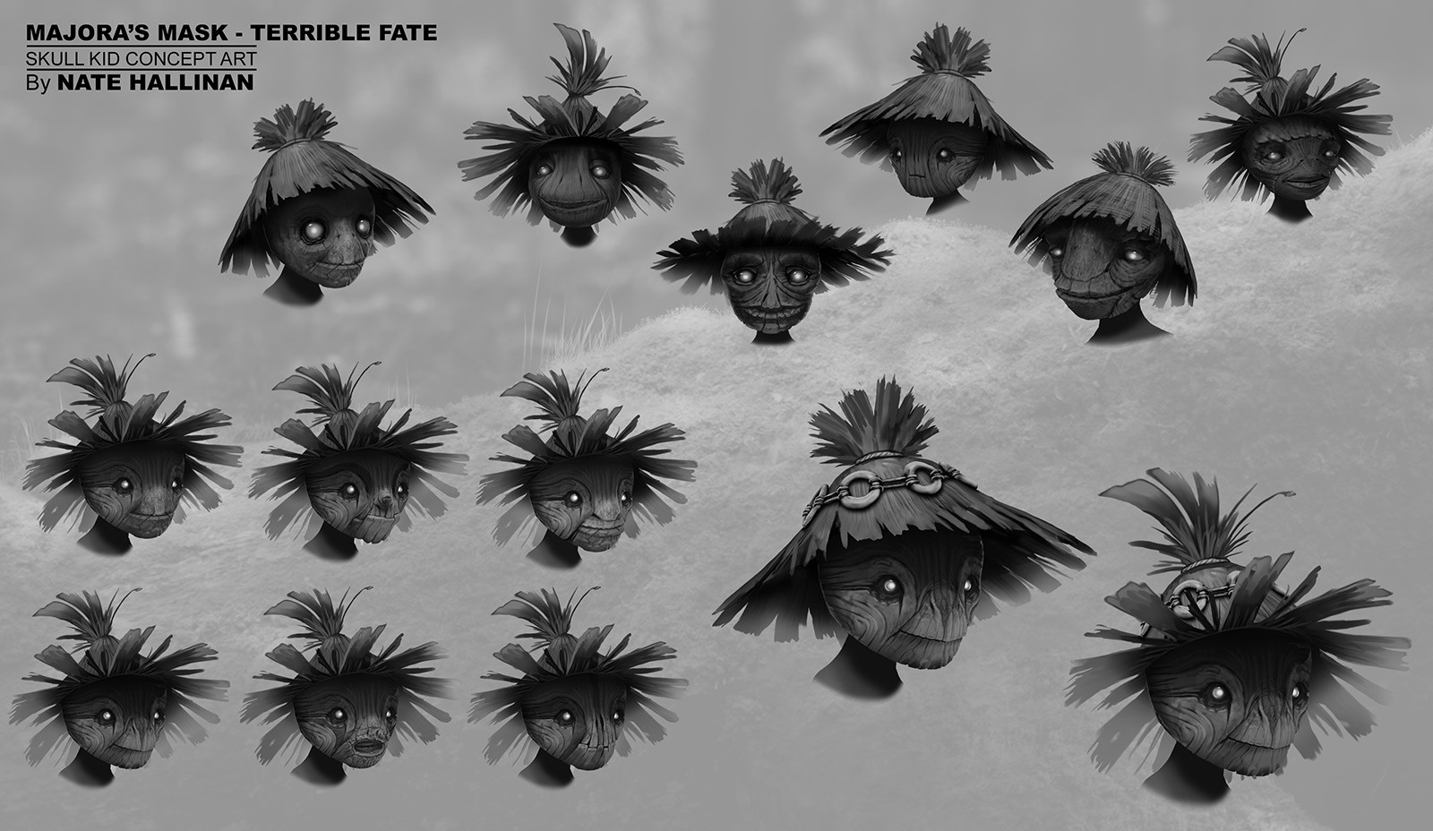 Skull Kid Face Rough designs. We wanted to make something that was kind of cute but played with making him a little creepy too/