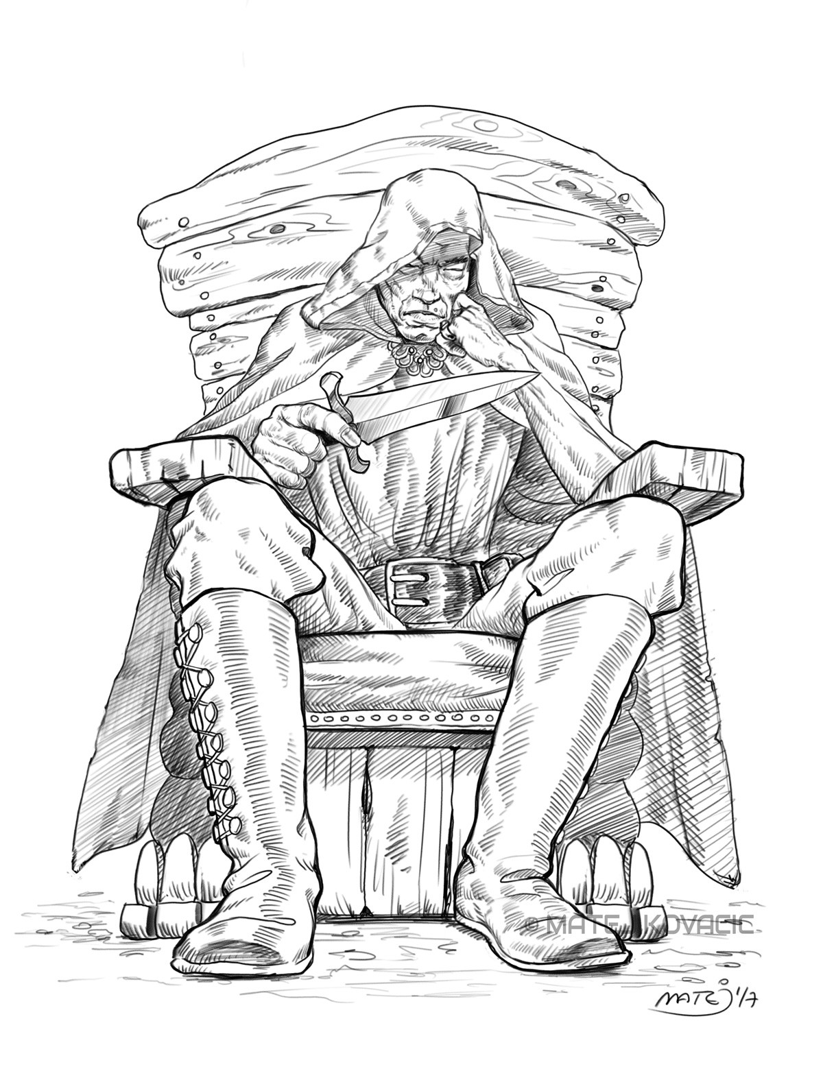 Old Assassin Meditating - comic art