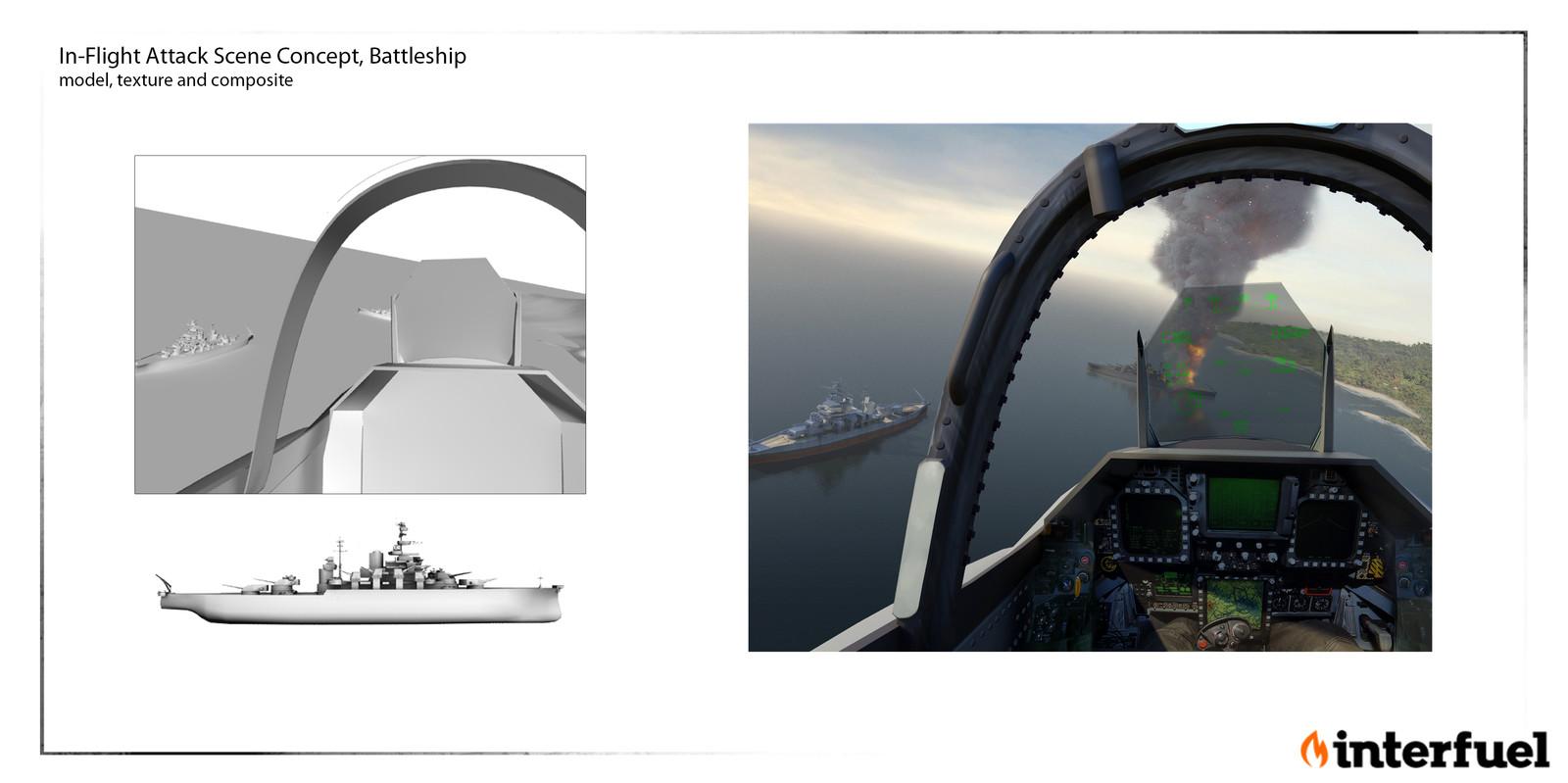 In-Flight attack Scene: Concept , design, model and composite