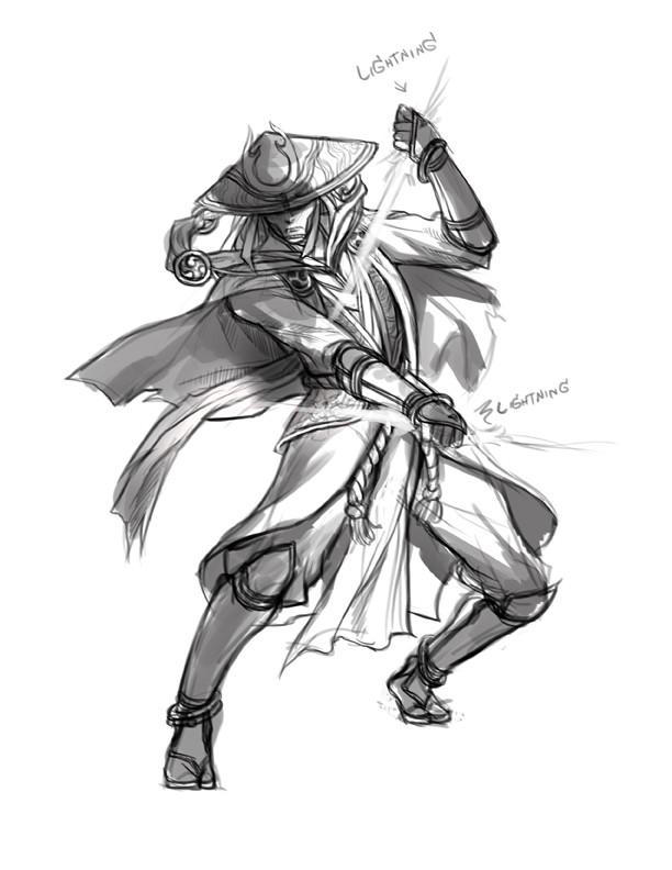 "Boss: ""A Raiden style character"" Me: ""Can I mix Raiden with Raijin, the lightning god?"" Boss: ""Ok!"""