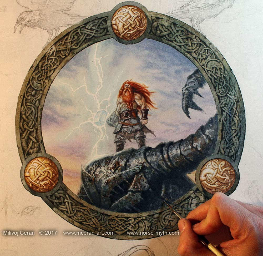 Norse Mythology art book cover, wip 004 painting Thor on top of a killed Frost Giants