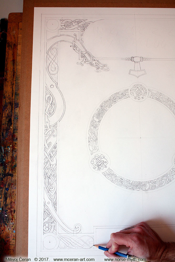 Norse Mythology art book cover, wip 001 drawing and constructing norse/celtic knotwork