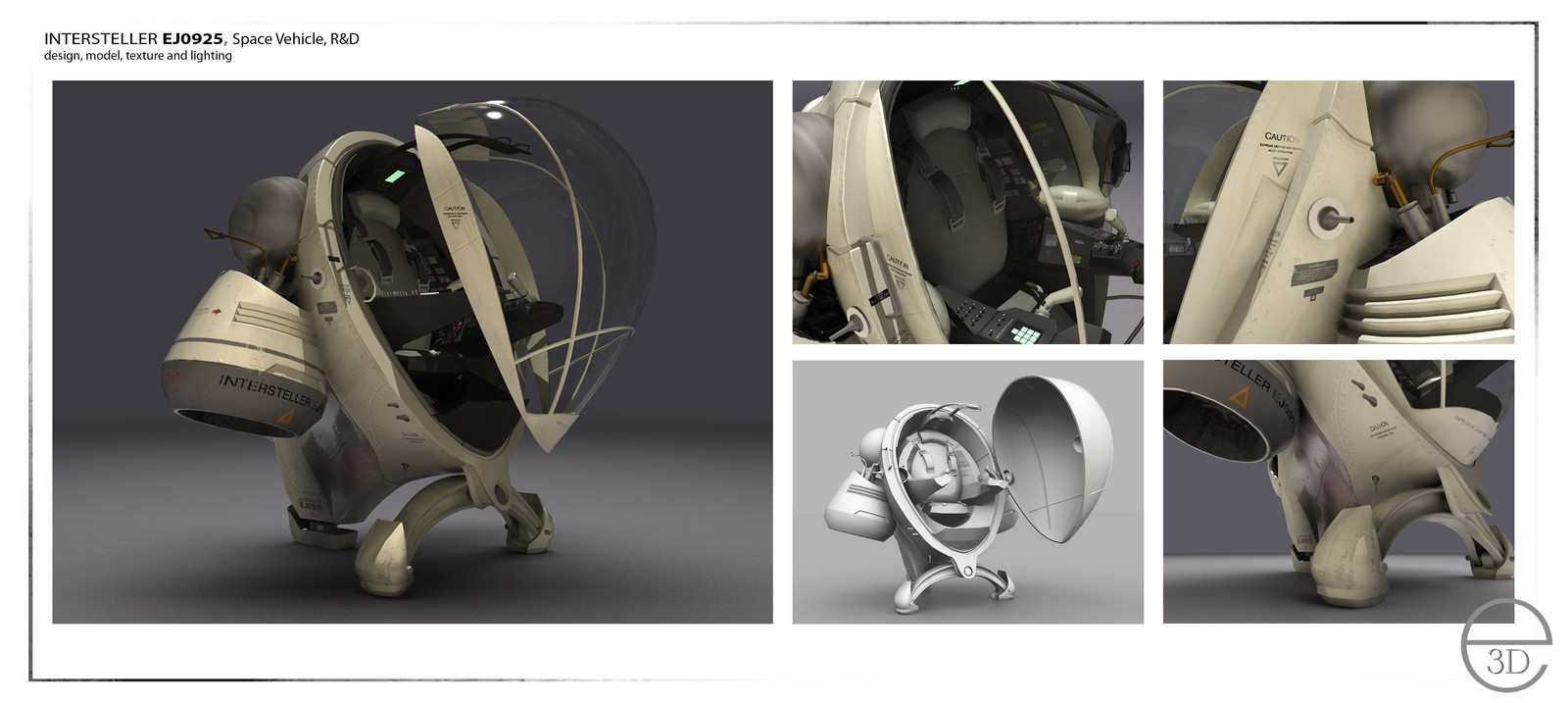Space vehicle R&D: design, model, texture and light