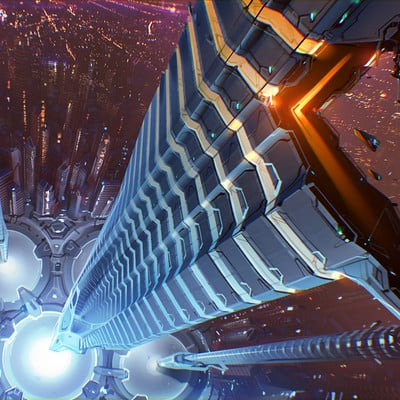 Sviatoslav gerasimchuk sci fi citty center top view