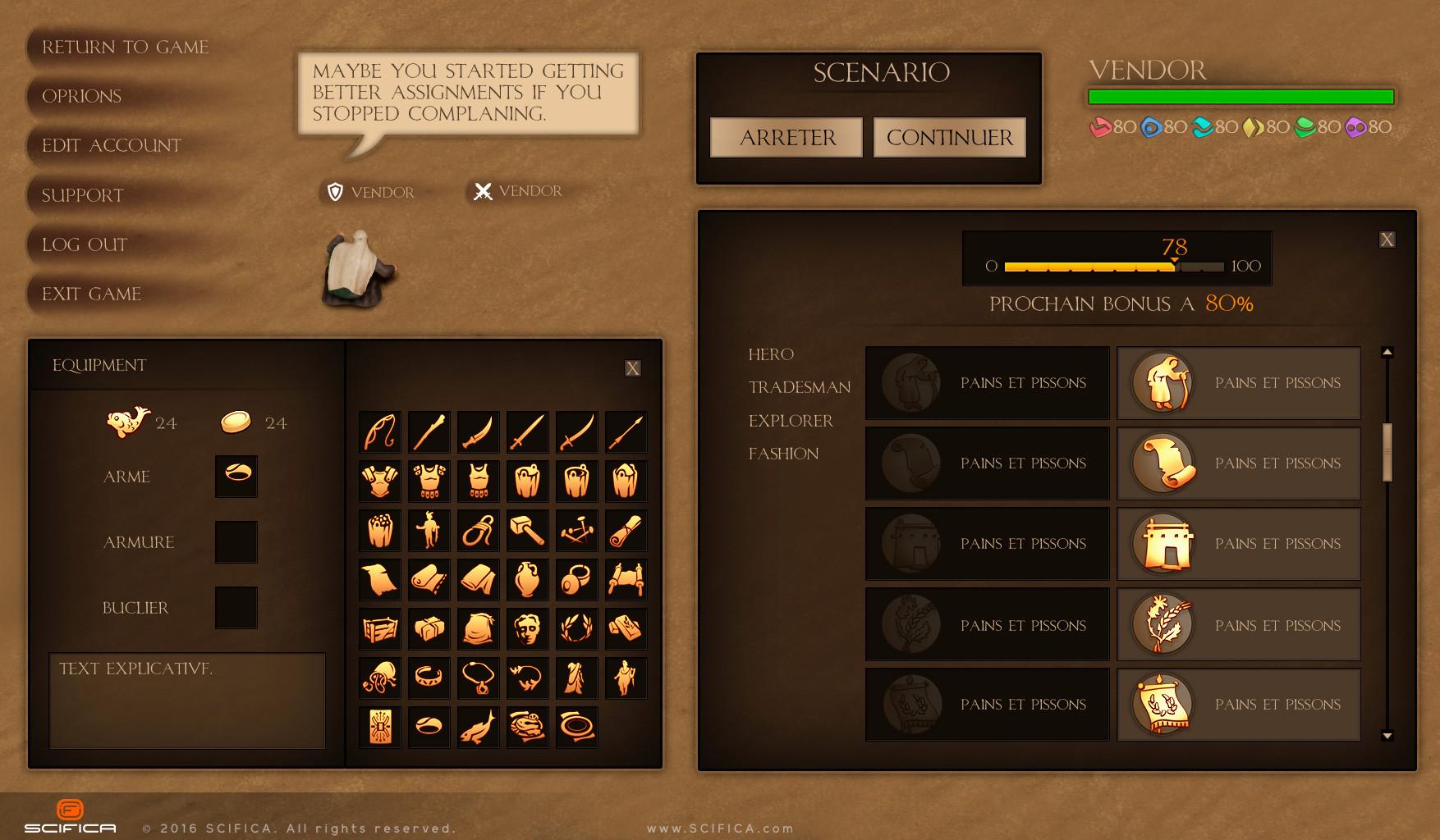 ArtStation Video Game UI Design For PC Adventure Game Anton Cermak - Game menu design