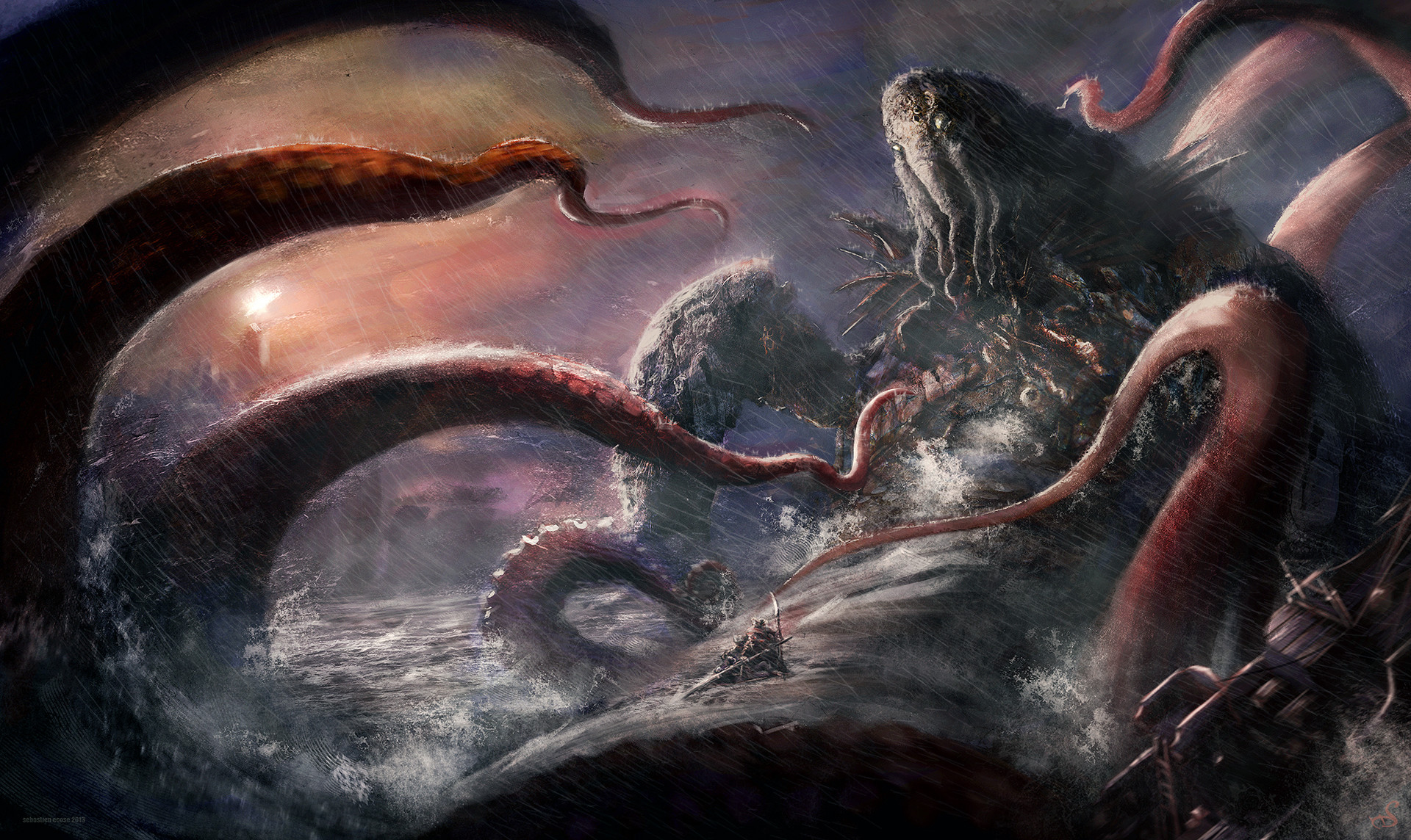 Sebastien ecosse cthulhu lovecraft ship lighthouse sink monster god ancient illustration sebastien ecosse retouched 3