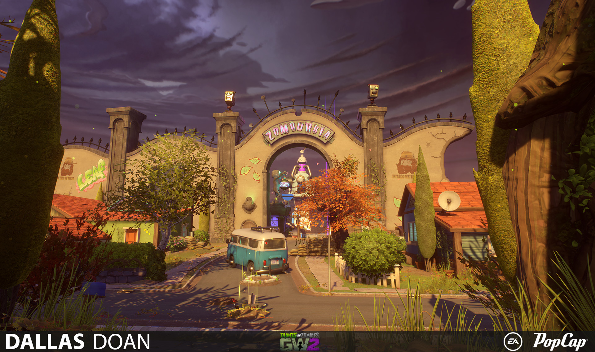 ArtStation - Plants Vs Zombies Garden Warfare 2 - Zomburbia Level ...