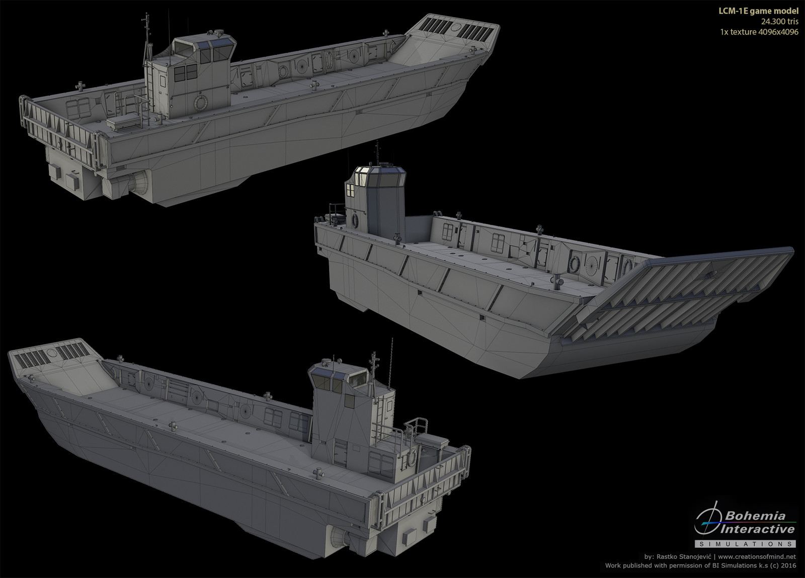 LCM-1e Landing Craft | real time render wireframe |