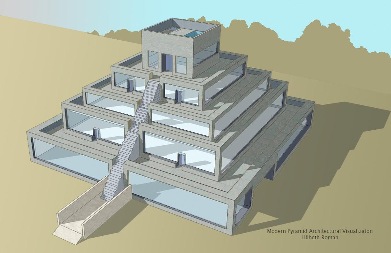 Artstation Modern Pyramid Architectural Visualization Lilibeth Roman