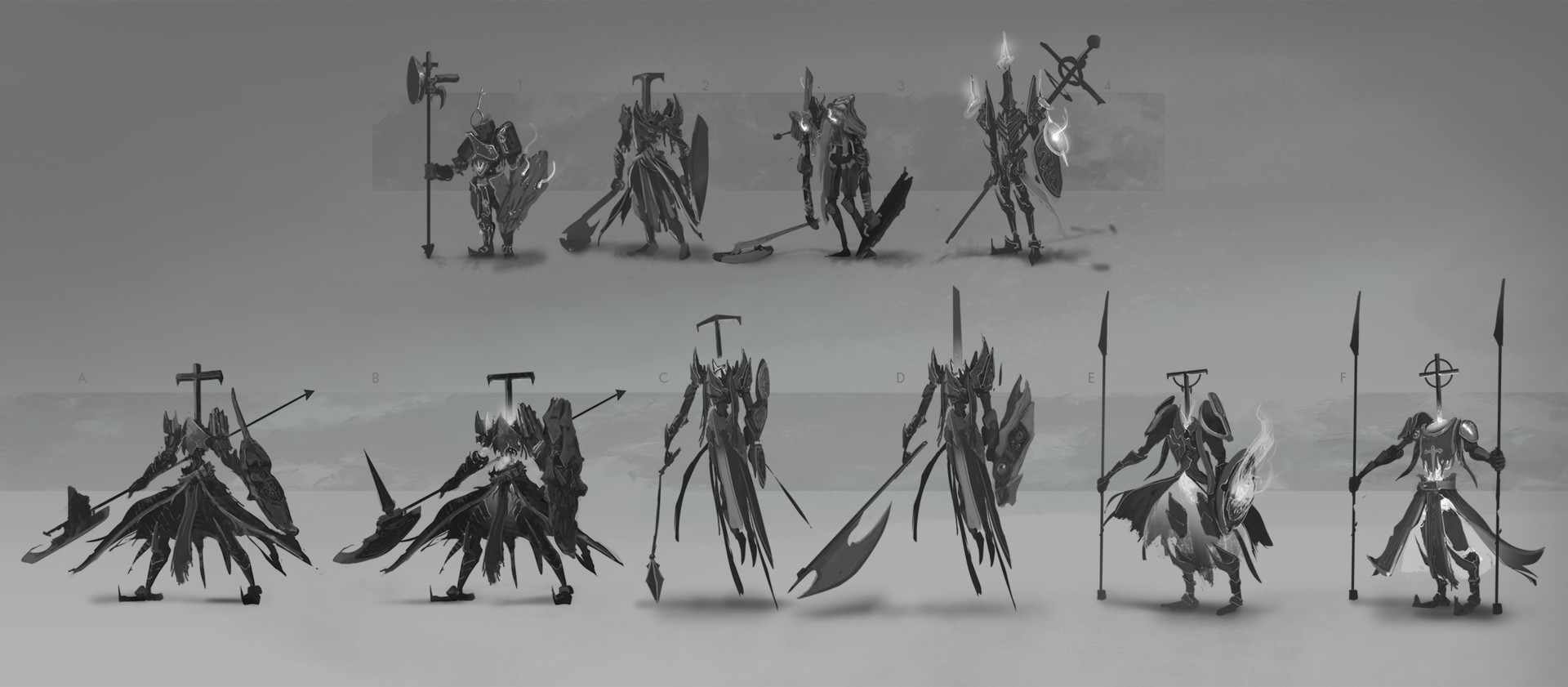 Initial exploration, I decided to move forward with 2, and tried the variations below.  I tried pushing the character into a couple other directions after choosing 2. Mainly, a more spectral (B,C) and grounded (E,F)