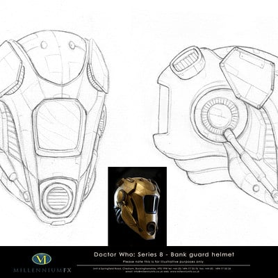 Christopher goodman doctor who bank guard helmet drawing