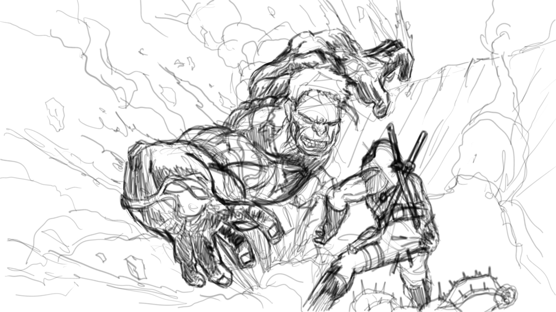 Dibujando A Hulk Vs Deadpool (Parte 1)/ Drawing Hulk Vs Deadpool (Part 1)