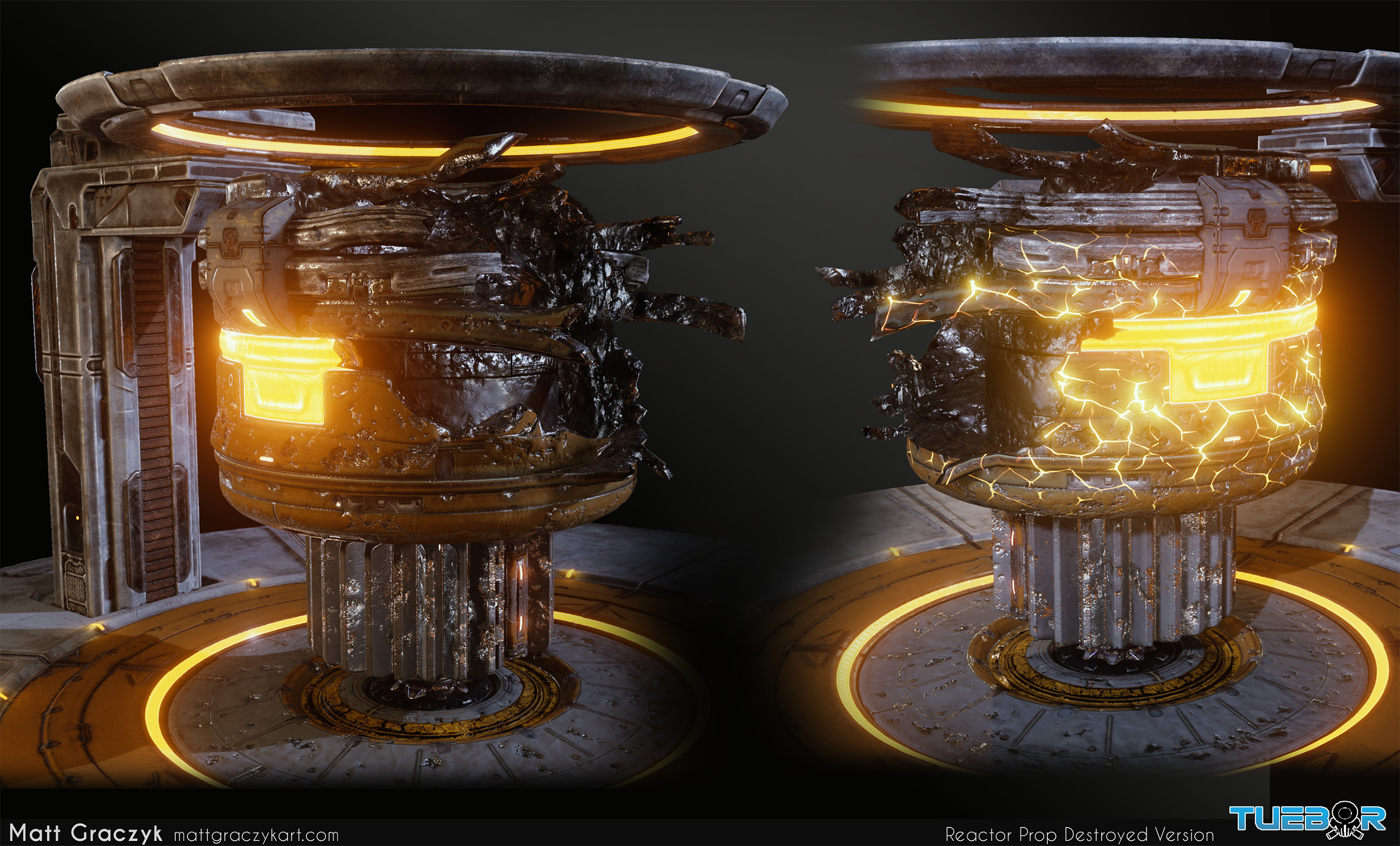 I created a destroyed version of the reactor from the normal version using Ndo to overlay damage and vertex blending of a charred metal material.