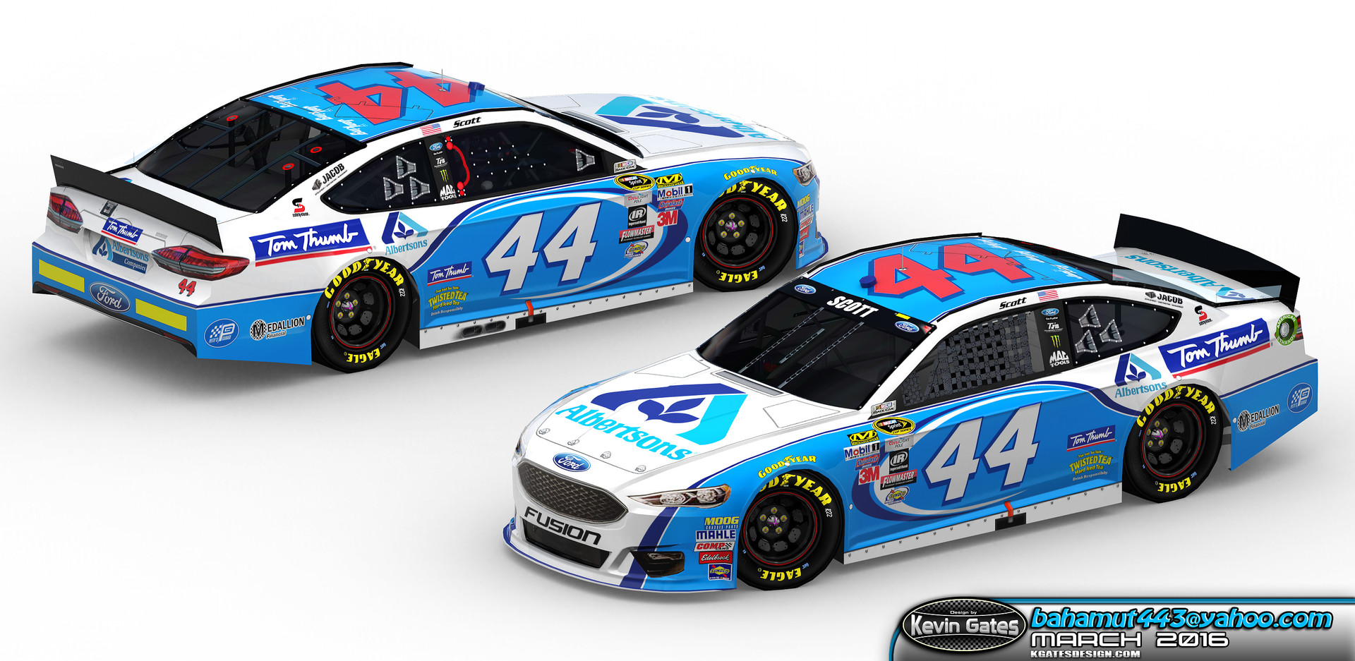 Original Autodesk 3DS Max render of the finalized 2016 #44 Albertsons / Tom Thumb Ford Fusion driven by NASCAR Sprint Cup Series driver Brian Scott of Richard Petty Motorsports