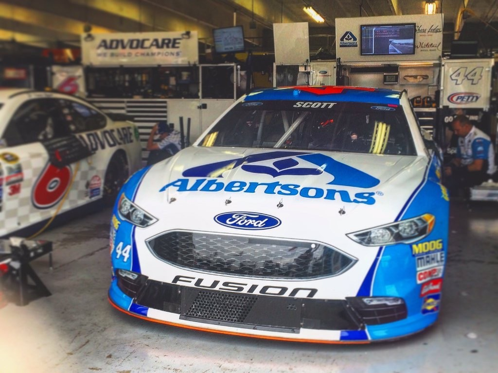 The #44 Albertsons / Tom Thumb Ford Fusion in the garage at Texas Motor Speedway on April 8th, 2016 (Photo credit: Rick Pendergraft)