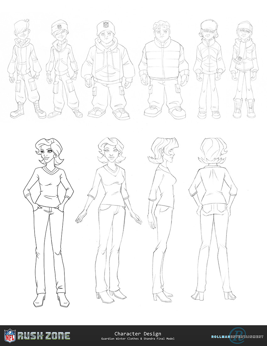 Winter Gear Design. (Top) Character Design/Turn Around. (Bottom)