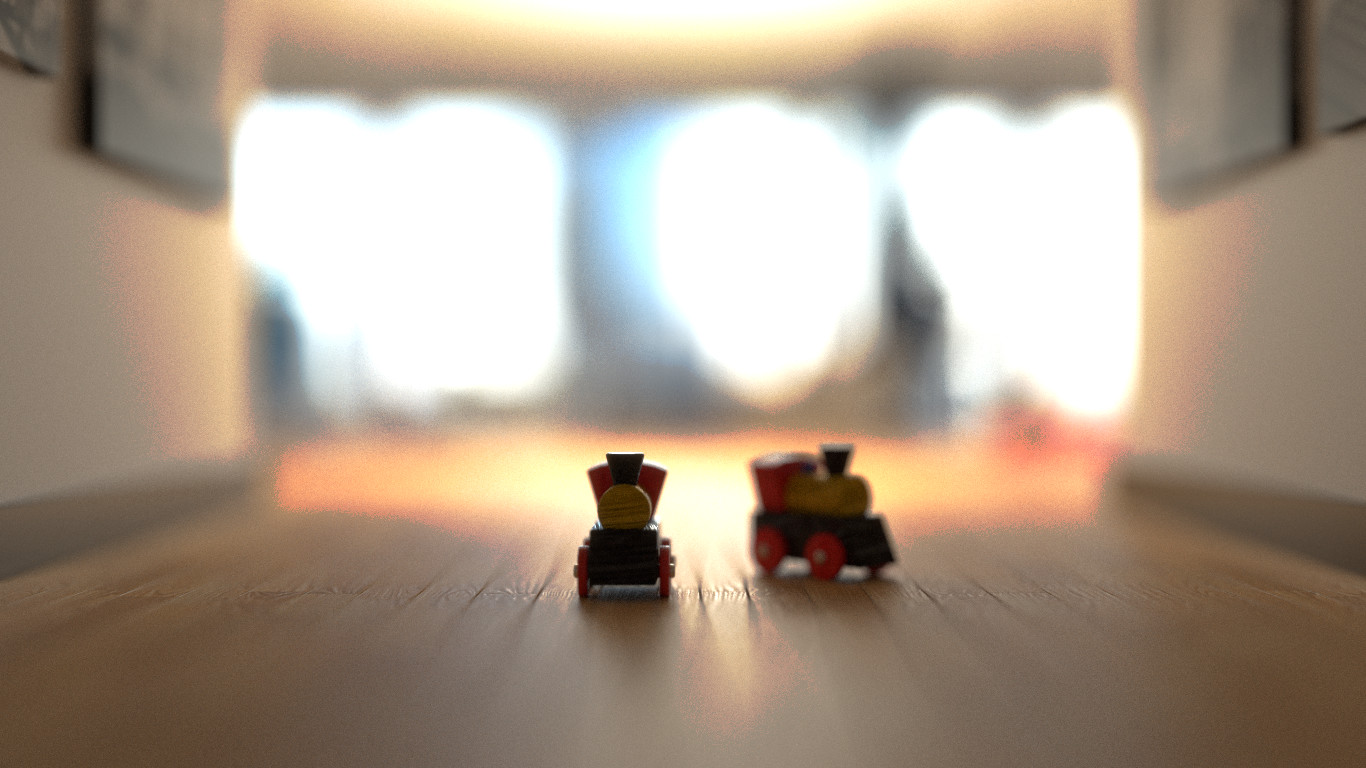 Toy train in focus