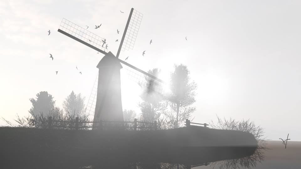 Windmill in mist