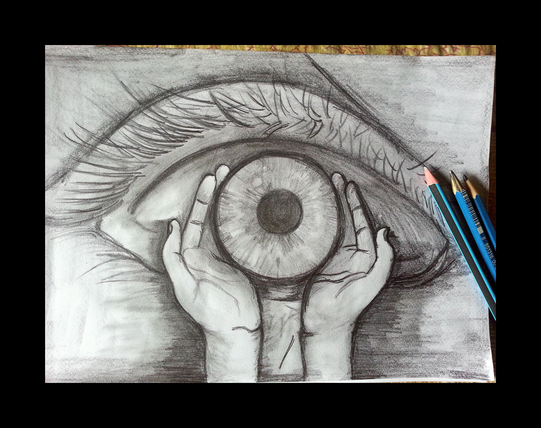 Pencil drawing thinking deeply