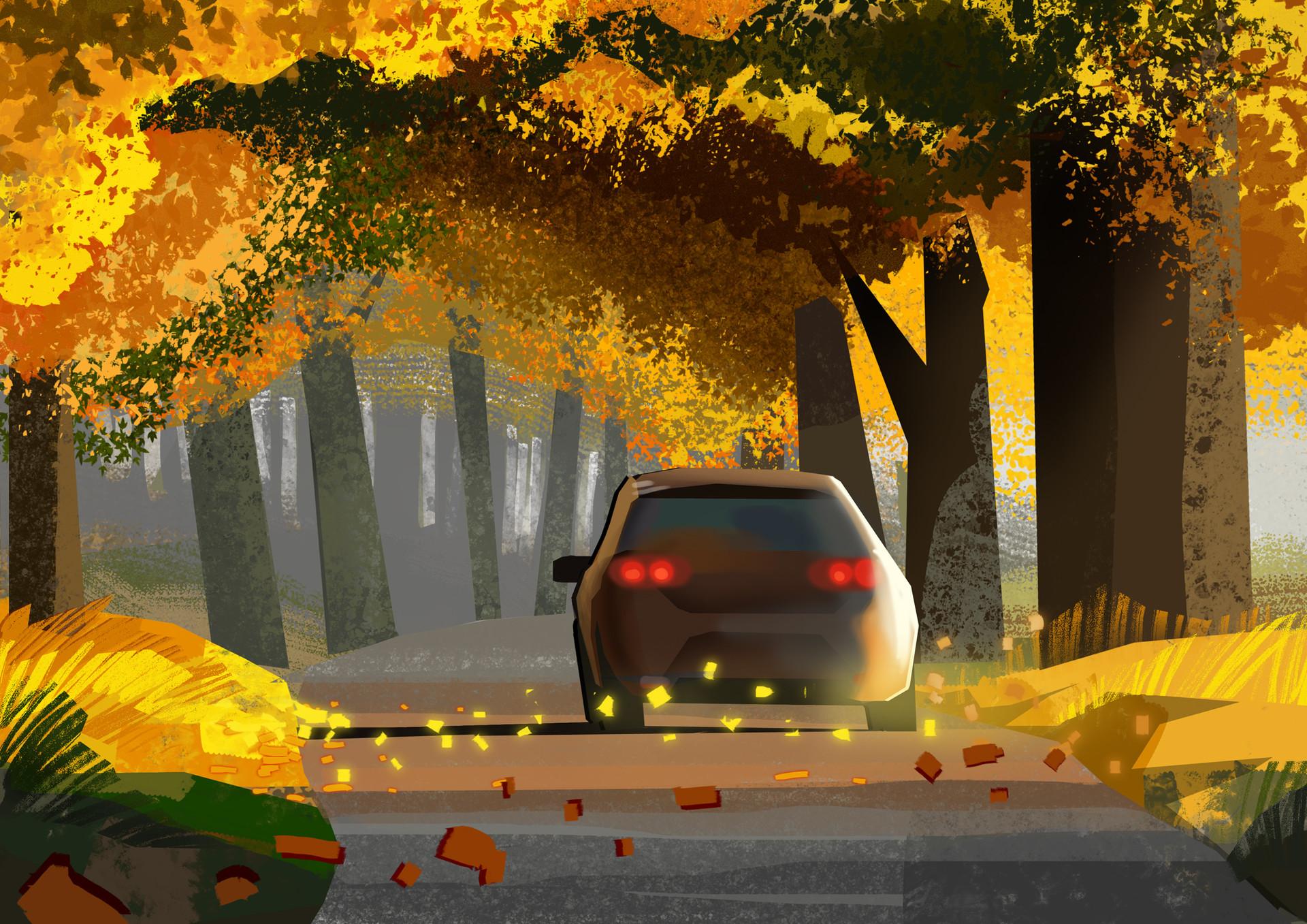 Harald ardeias car autumn sketc h