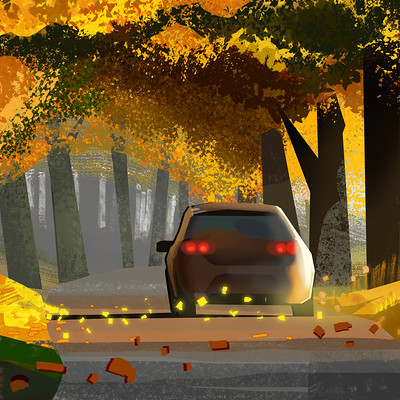 Harald ardeias car autumn sketc h