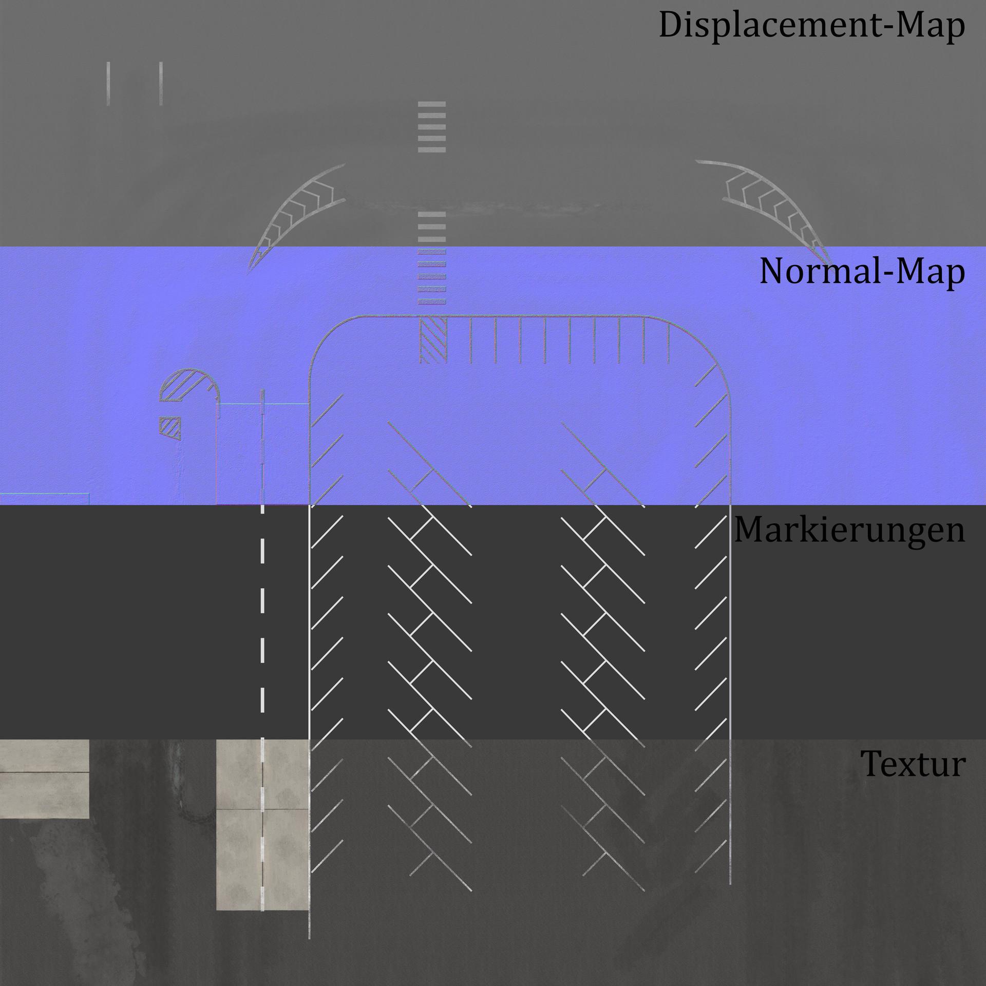 verwendete Texturen für den Asphalt