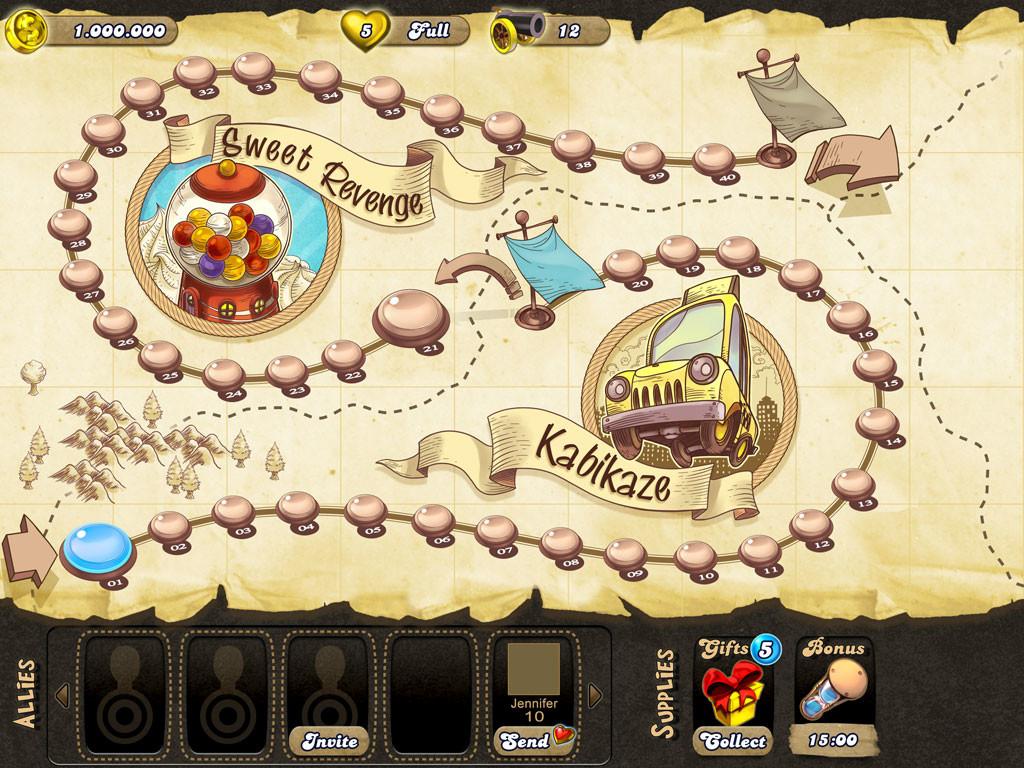 Early conceptual idea for level progression and friends menu.