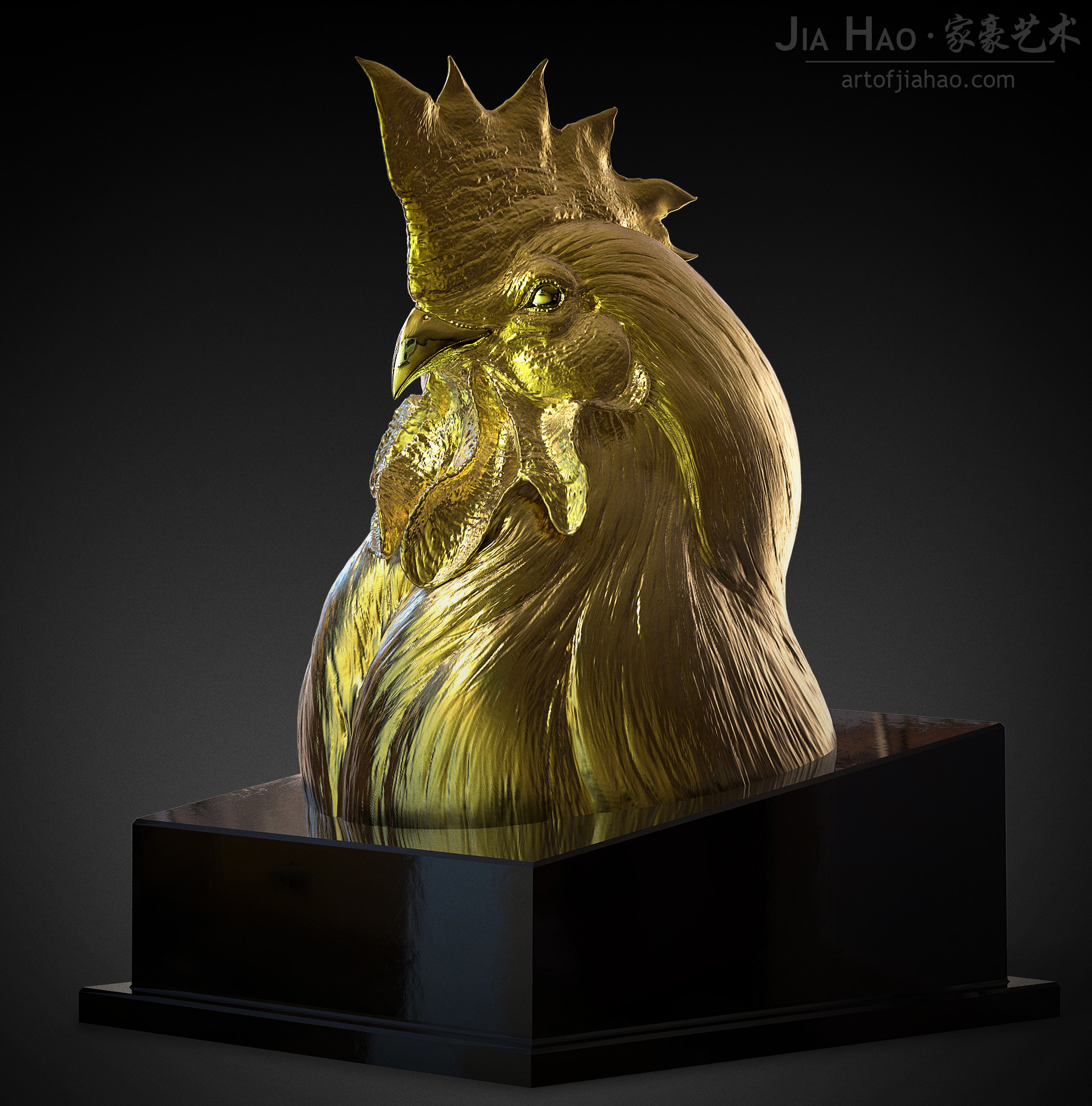 Jia hao 2017 sculpture majesticrooster comp gold