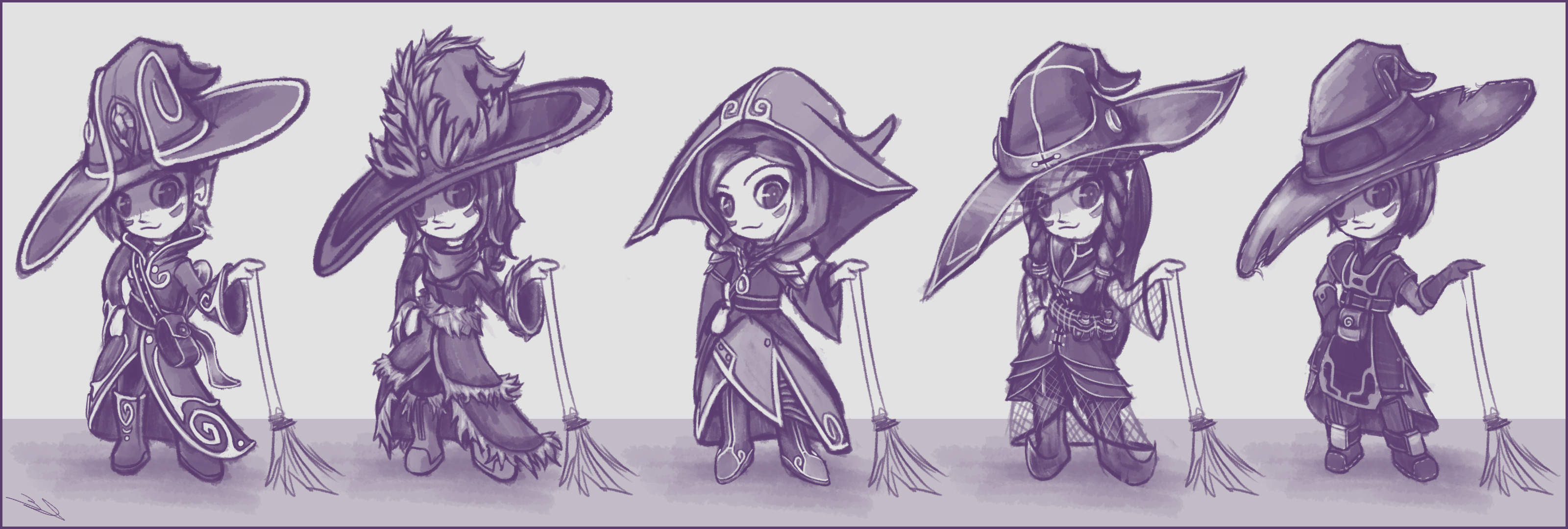 Initial costume concepts! The 5th outfit was chosen by the majority of people asked.