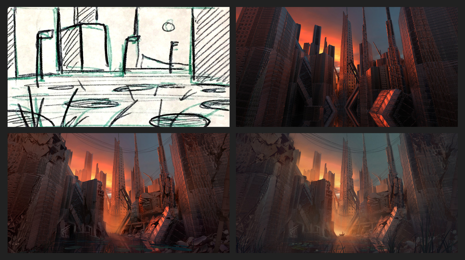 Process, with initial thumbnail of a loose idea