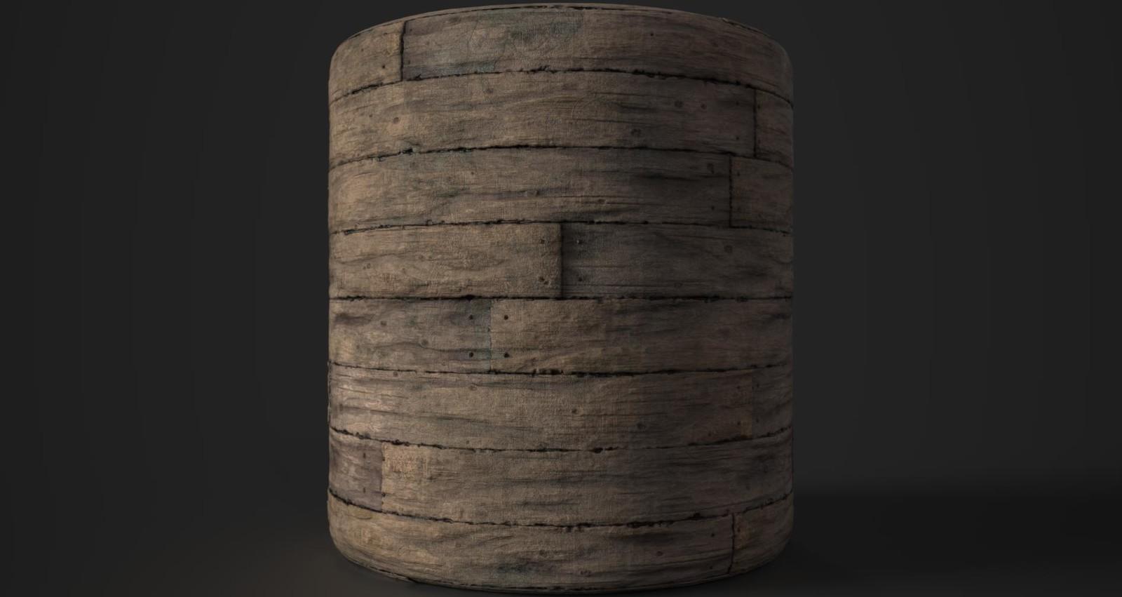 Rotten worn wood panelling or floor.